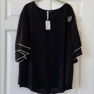 NWT NEW YOUR COLLECTION blouse w/pearled sleeves